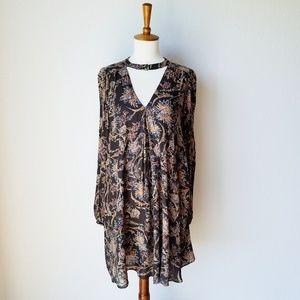 Zara Trafaluc Floral Print Boho Choker Dress - XS